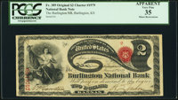 Burlington, KS - $2 Original Fr. 389 The Burlington National Bank Ch. # 1979 PCGS Apparent Very Fine 35