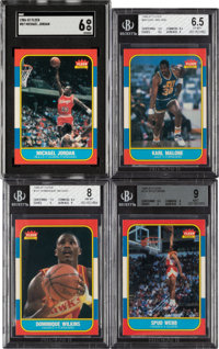 1986 Fleer Basketball Mid to High Grade Collection (13) - Includes Jordan Rookie