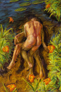 Hugh Auchincloss Steers (1963-1995) Tiger Lily Pond, 1991 Oil on canvas 60-1/2 x 37 inches (153.7