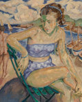 Paintings, Mela Muter (1886-1967). Untitled (Woman in Brittany). Oil on canvas. 39-1/2 x 31-1/2 inches (100.3 x 80.0 cm). ...