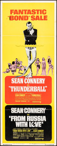 """Movie Posters:James Bond, Thunderball/From Russia with Love Combo (United Artists, R-1968). Folded, Fine/Very Fine. Insert (14"""" X 36""""). James Bond.. ..."""
