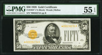 Fr. 2404* $50 1928 Gold Certificate. PMG About Uncirculated 55 EPQ