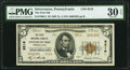 National Bank Notes:Pennsylvania, Intercourse, PA - $5 1929 Ty. 2 The First National Bank Ch. # 9216 PMG Very Fine 30 EPQ.. ...