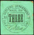 Obsoletes By State:Massachusetts, Boston, MA- Sutlers Department, 13th Massachusetts Regiment 3¢ Keller UNL About Uncirculated.. ...