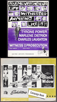 Witness for the Prosecution & Other Lot (United Artists, 1958). Folded, Overall: Fine/Very Fine. Uncut Pressbooks (1...