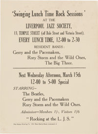 The Beatles Swinging Lunch Time Sessions Handbill (1961)