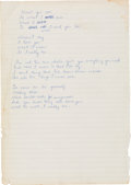 Music Memorabilia:Memorabilia, Badfinger Pete Ham and Tom Evans Original Handwritten Lyrics....