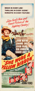 "Movie Posters:Western, She Wore a Yellow Ribbon (RKO, 1949). Folded, Very Fine-. Insert (14"" X 36"").. ..."
