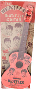 Music Memorabilia:Memorabilia, The Beatles Toy Guitar by Mastro with Backing Board (Beatle-ist,1964)....