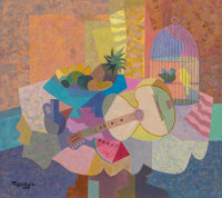 Romeo V Tabuena (American/Mexican, 1921-2015) Guitar and Birdcage, 1990 Oil on canvas 26-3/4 x 30