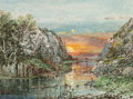 Works on Paper, William Louis Sonntag (American, 1822-1900). Sunset. Watercolor on paper. 7 x 9 inches (17.8 x 22.9 cm) (sight). Signed ...