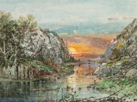 William Louis Sonntag (American, 1822-1900) Sunset Watercolor on paper 7 x 9 inches (17.8 x 22.9