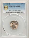 Mercury Dimes, 1941-D 10C MS68 Full Bands PCGS. PCGS Population: (36/0 and 0/0+). NGC Census: (10/0 and 0/0+). Mintage 46,634,000....