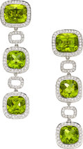 Estate Jewelry:Earrings, Peridot, Diamond, White Gold Earrings. ...