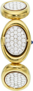 Estate Jewelry:Watches, Universal Geneve Lady's Diamond, Gold Covered Dial Watch. ...