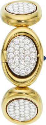 Universal Gene Lady's Diamond, Gold Covered Dial Watch