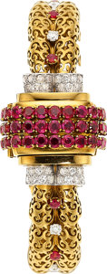 Estate Jewelry:Watches, Retro Gübelin Lady's Ruby, Diamond, Gold Covered Dial Watch. ...