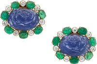 Sapphire, Emerald, Diamond, Gold Earrings, Aletto Bros