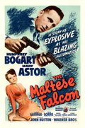"Movie Posters:Film Noir, The Maltese Falcon (Warner Bros., 1941). Fine on Linen. One Sheet (27"" X 41"").. ..."