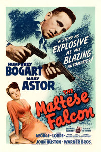 "The Maltese Falcon (Warner Bros., 1941). Fine on Linen. One Sheet (27"" X 41"")"