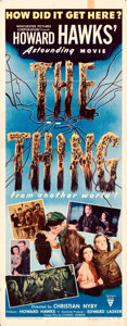 """Movie Posters:Science Fiction, The Thing from Another World (RKO, 1951). Folded, Fine+. Insert (14"""" X 36"""").. ..."""