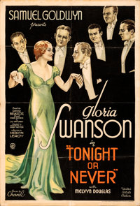 "Tonight or Never (United Artists, 1931). Folded on Kraft Paper, Fine-. Trimmed One Sheet (27"" X 40"")"
