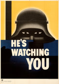 """Movie Posters:War, World War II Lot (U.S. Government Printing Office, 1942). Folded, Very Fine-. Poster (28.5"""" X 40"""") """"He's Watching You,"""" Glen..."""