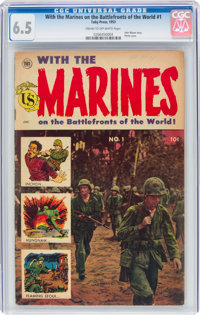 With the Marines on the Battlefronts of the World #1 (Toby Publishing, 1953) CGC FN+ 6.5 Cream to off-white pages