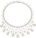 Estate Jewelry:Necklaces, Diamond, South Sea Cultured Pearl, White Gold Necklace, Piranesi . ...