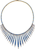 Estate Jewelry:Necklaces, Sapphire, Synthetic Sapphire, Diamond, Gold, Silver-Topped Gold Necklace. ...