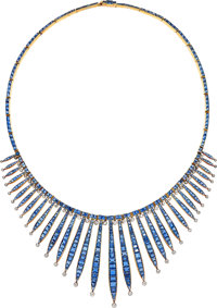 Sapphire, Synthetic Sapphire, Diamond, Gold, Silver-Topped Gold Necklace