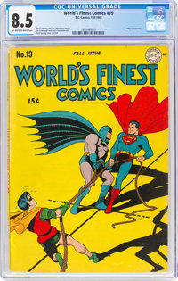 World's Finest Comics #19 (DC, 1945) CGC VF+ 8.5 Off-white to white pages