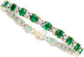 Estate Jewelry:Bracelets, Emerald, Diamond, Gold Bracelet, Craig Drake. ...