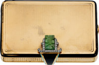 Art Deco Diamond, Nephrite Jade, Enamel, Gold Compact, Cartier, French