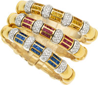 Multi-Stone, Diamond, Gold Bracelets ... (Total: 3 Items)