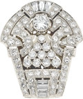 Estate Jewelry:Brooches - Pins, Art Deco Diamond, Platinum, White Gold Clip-Brooch, French . ...