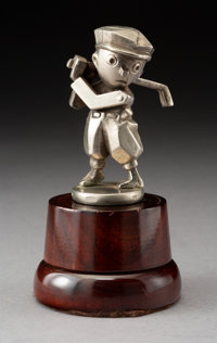 French Golfer Nickel-Plated Bronze Automobile Mascot, circa 1930 4 inches (10.2 c