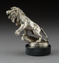 Metalwork, M. Marx for Puegot Lion Nickel-Plated Bronze Automobile Mascot, circa 1920. Marks: M MARX. 4-3/4 inches (12....