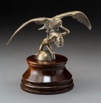 An A. Delm Nude Attacked by EagleNickel-Plated Bronze Automobile Mascot, circa 1925<