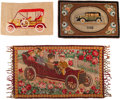 Textiles, Three American Automobile Motif Rugs, 20th century. 35 x 62 inches (88.9 x 157.5 cm) (largest, excluding fringe). ... (Total: 3 Items)