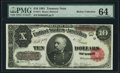 Large Size:Treasury Notes, Fr. 371 $10 1891 Treasury Note PMG Choice Uncirculated 64.. ...