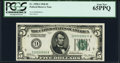 Fr. 1950-I $5 1928 Federal Reserve Note. PCGS Gem New 65PPQ