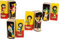 Music Memorabilia:Memorabilia, The Beatles Mop Top Wooden Dolls in Original Boxes (circa 1960s).... (Total: 4 Items)