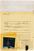 Music Memorabilia:Autographs and Signed Items, Tupac Shakur Signed Floor Locator Card With Picture and Fingerprint (1994)....