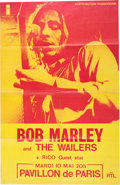 Music Memorabilia:Posters, Bob Marley 1977 Large Paper Concert Poster from Paris, France...
