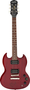 Musical Instruments:Electric Guitars, AC/DC/Angus Young Signed and Inscribed Red Epiphone SG Electric Guitar Serial #0904232097. ...