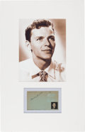 Movie/TV Memorabilia:Autographs and Signed Items, Frank Sinatra Signature in a Matted Display (1941)....