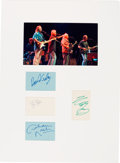 Music Memorabilia:Autographs and Signed Items, Crosby, Stills, Nash and Young Signatures in a Matted Display....