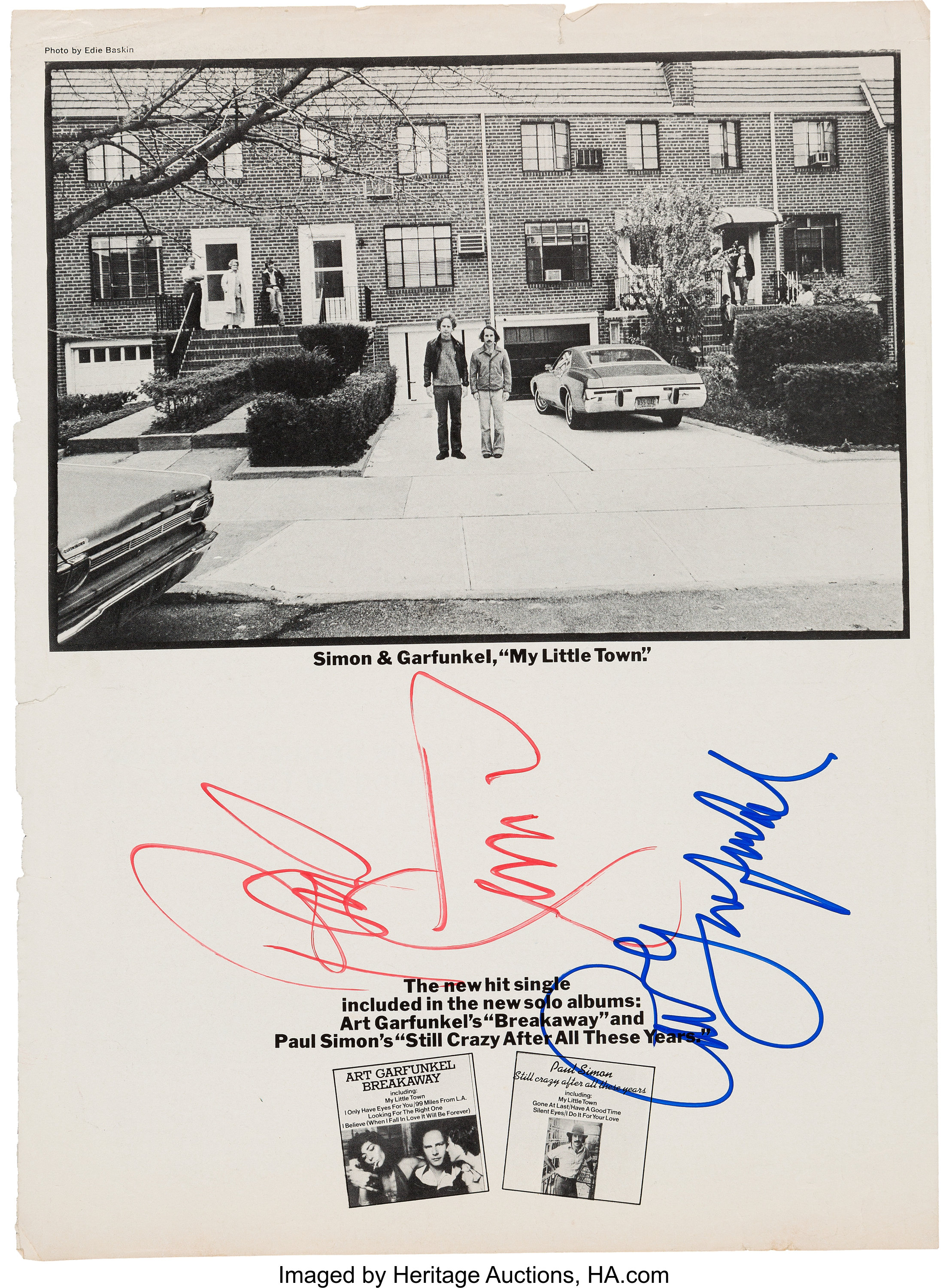 99 Miles From La Art Garfunkel simon & garfunkel signed billboard advertisement (1975