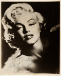 Movie/TV Memorabilia:Autographs and Signed Items, Marilyn Monroe Signed Black and White Photograph (1950s)....